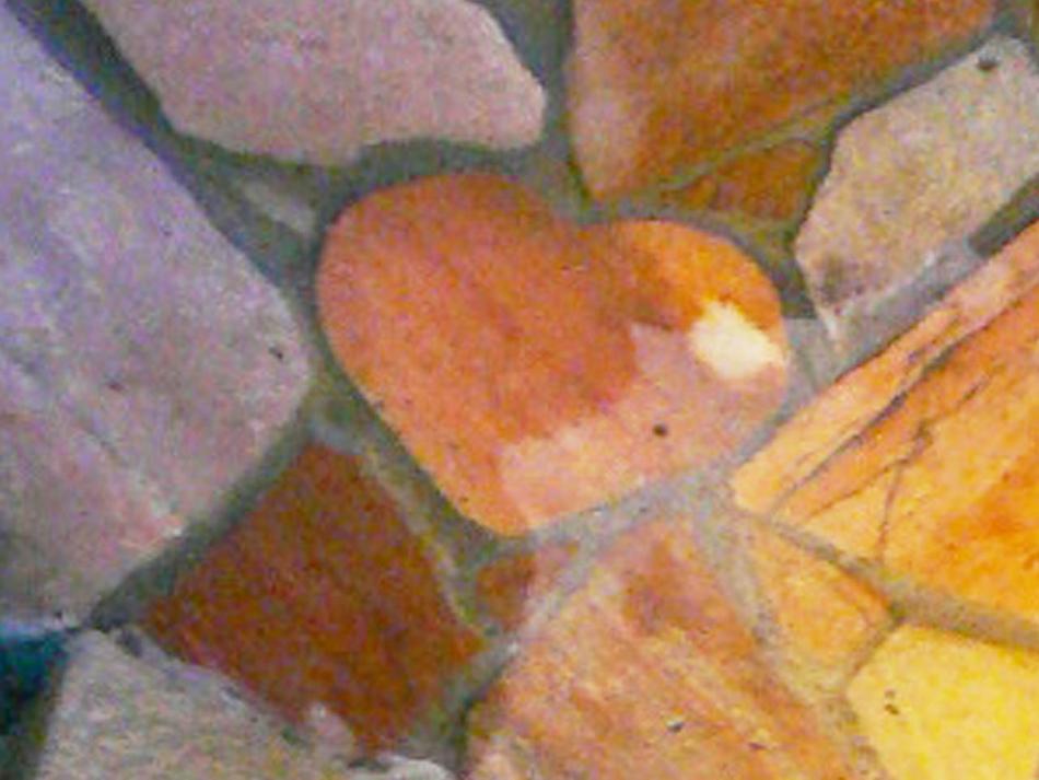 ハート型の庭石